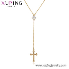 44078 wholesales fashion jewelry 18k gold plated lady diamond necklace cross design pendant necklace